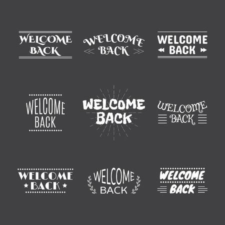 seasonable: Welcome back collection. Set of 9 labels, emblems, stickers or badges. Decorative elements for your design. Vector illustration Illustration