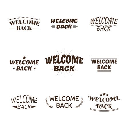 Welcome back design collection. Set of 9 labels, emblems, stickers or badges. Decorative elements for your design. Vector illustration Illustration