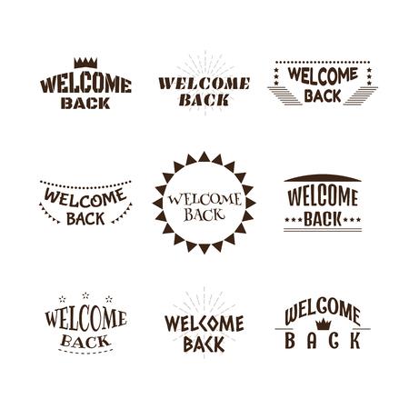 Welcome back. Set of 9 labels, emblems, stickers or badges. Decorative elements for your design. Postcards. Vector illustration