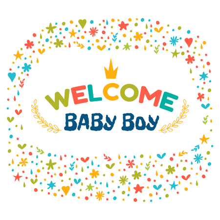baby announcement card: Baby boy shower card. Welcome baby boy. Baby boy arrival postcard. Baby shower greeting card. Announcement card. Vector illustration