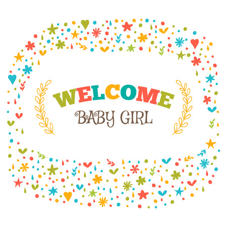 baby announcement card: Baby girl shower card. Welcome baby girl. Baby girl arrival postcard. Baby shower greeting card. Announcement card. Vector illustration
