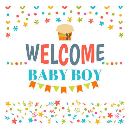 baby announcement card: Welcome baby boy shower card. Arrival card. Announcement card. Cute postcard. Vector illustration