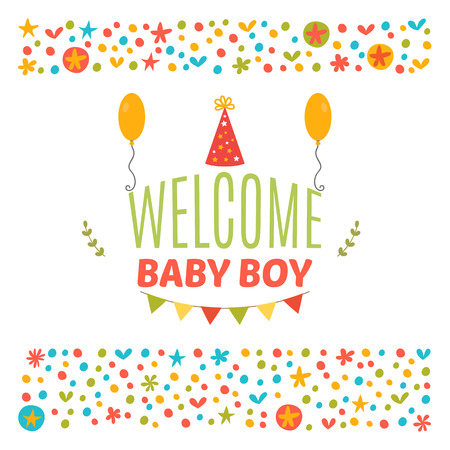 baby announcement card: Welcome baby boy shower card. Arrival card. Cute postcard. Announcement card. Vector illustration Illustration