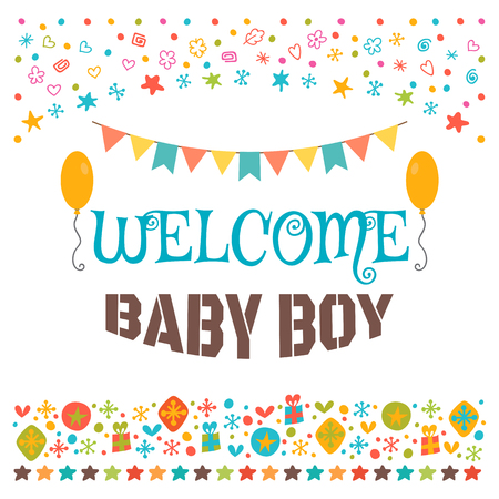 baby announcement card: Welcome baby boy. Announcement card. Baby shower greeting card. Baby boy shower card. Baby boy arrival postcard. Vector illustration