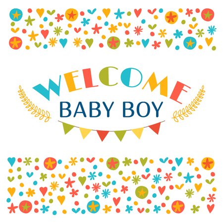 baby announcement card: Welcome baby boy. Baby boy shower card. Announcement card. Baby shower greeting card. Baby boy arrival postcard. Vector illustration