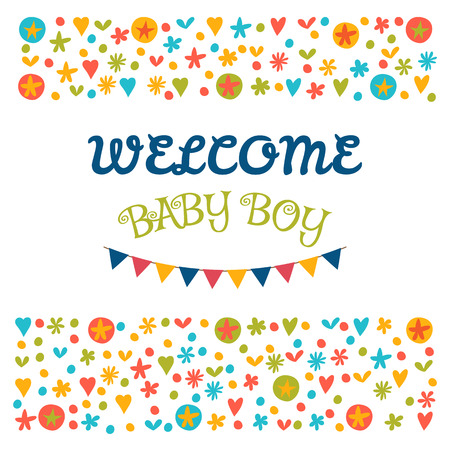 Welcome baby boy baby shower greeting card baby boy shower vector welcome baby boy baby shower greeting card baby boy shower card baby boy arrival postcard vector illustration m4hsunfo