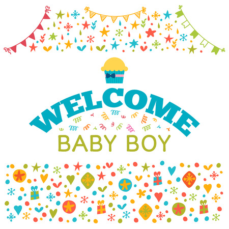 Welcome baby boy baby boy shower card baby shower greeting vector welcome baby boy baby boy shower card baby shower greeting card cute baby boy arrival postcard vector illustration m4hsunfo