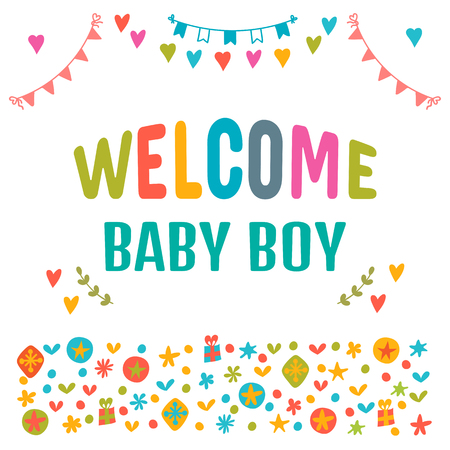 Welcome baby boy baby boy shower card baby shower greeting vector welcome baby boy baby boy shower card baby shower greeting card baby boy arrival postcard vector illustration m4hsunfo