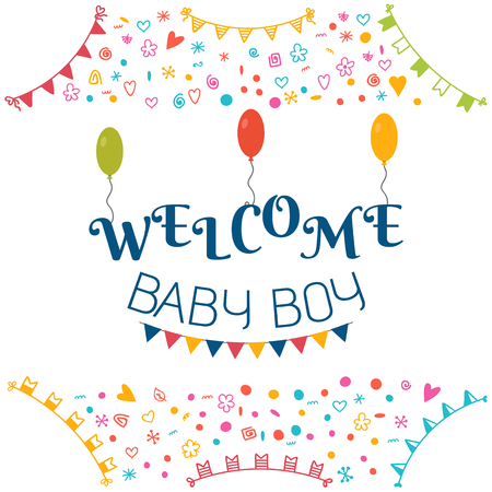 Welcome baby boy baby shower greeting card cute baby boy shower vector welcome baby boy baby shower greeting card cute baby boy shower card baby boy arrival postcard vector illustration m4hsunfo