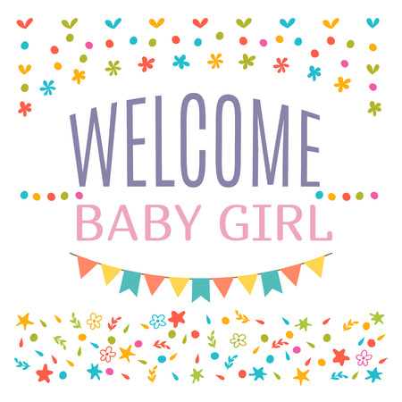 Welcome baby girl shower card. Arrival card. Announcement card. Cute postcard. Vector illustration