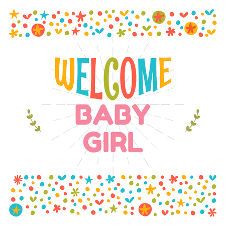baby announcement card: Welcome baby girl shower card. Arrival card. Cute postcard. Announcement card. Vector illustration