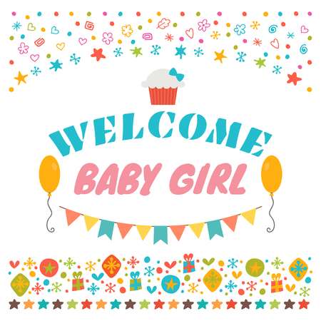baby announcement card: Welcome baby girl. Announcement card. Baby shower greeting card. Baby girl shower card. Baby girl arrival postcard. Vector illustration