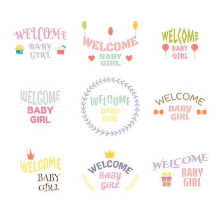 baby girl arrival: Welcome baby girl. Baby girl arrival postcards. Baby shower card design. Vector illustration Illustration