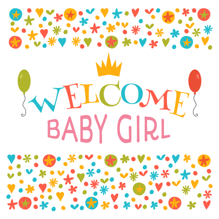 baby announcement card: Welcome baby girl. Baby girl shower card. Announcement card. Baby shower greeting card. Baby girl arrival postcard. Vector illustration Illustration