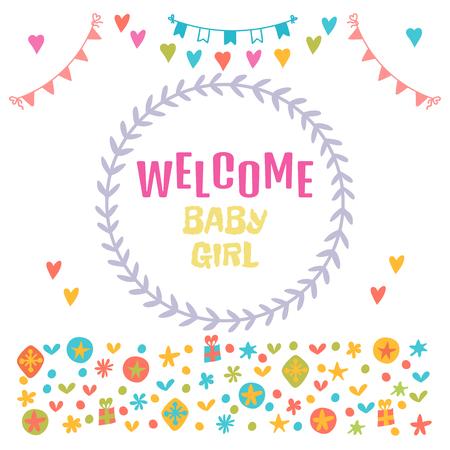 baby girl arrival: Welcome baby girl. Baby girl shower card. Baby shower greeting card. Baby girl arrival postcard. Vector illustration Illustration