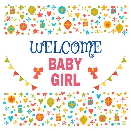 baby girl arrival: Welcome baby girl. Baby girl shower card. Baby girl arrival postcard. Baby shower greeting card. Vector illustration