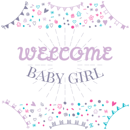 Welcome baby girl baby shower greeting card cute baby girl vector welcome baby girl baby shower greeting card cute baby girl shower card baby girl arrival postcard vector illustration m4hsunfo