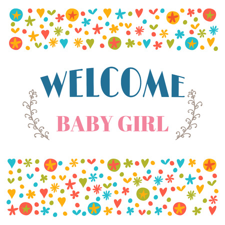 Welcome baby girl baby shower greeting card baby girl shower vector welcome baby girl baby shower greeting card baby girl shower card baby girl arrival postcard vector illustration m4hsunfo