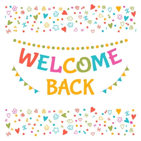 postcard back: Welcome back text with colorful design elements. Greeting card. Cute postcard. Decorative lettering text for your design. Vector illustration
