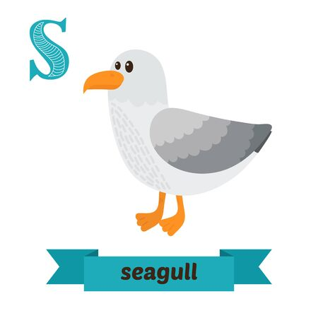 albatross: Seagull. S letter. Cute children animal alphabet in vector. Funny cartoon animals. Vector illustration Illustration