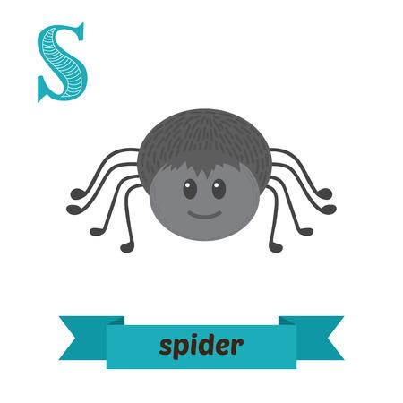 거미. S 편지. 벡터에서 귀여운 어린이 동물 알파벳입니다. 재미있는 만화 동물입니다. 벡터 일러스트 레이 션