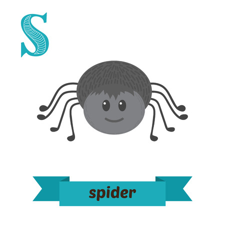 Spider. S letter. Cute children animal alphabet in vector. Funny cartoon animals. Vector illustration