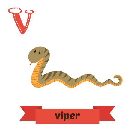 kid s illustration: Viper. V letter. Cute children animal alphabet in vector. Funny cartoon animals. Vector illustration