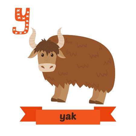 yak: Yak. Y letter. Cute children animal alphabet in vector. Funny cartoon animals. Vector illustration Illustration