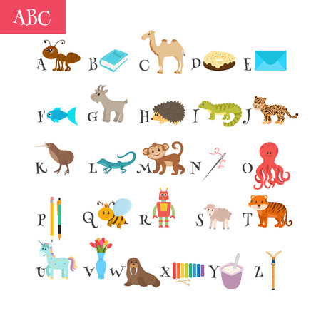 vocabulary: ABC. Cartoon vocabulary for education.