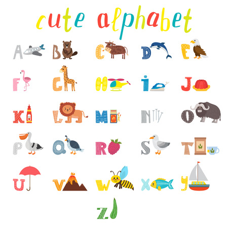 ABC. Children alphabet with cute cartoon animals and other funny elements. Cartoon vocabulary for education. Vector illustration Illustration