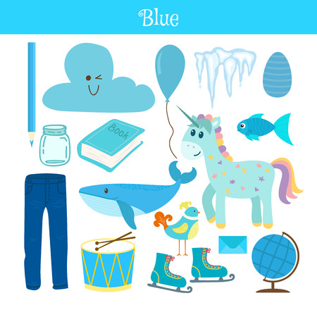 practice primary: Blue. Learn the color. Education set. Illustration of primary colors. Vector illustration
