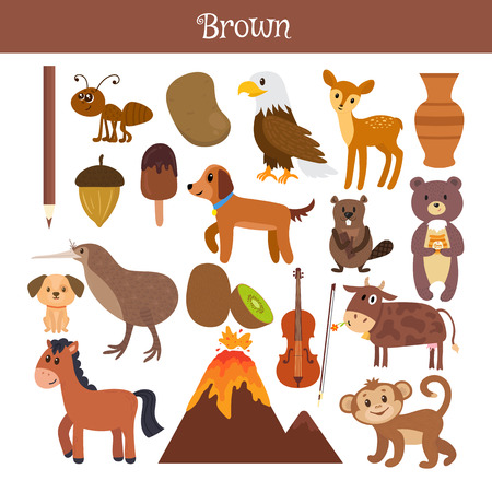 Brown. Learn the color. Education set. Illustration