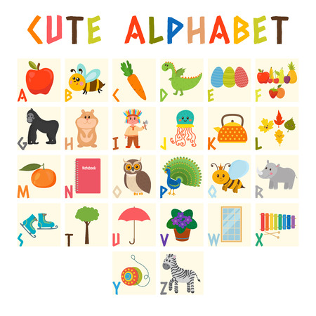vocabulary: Children alphabet with cute cartoon animals and other funny elements. Cartoon vocabulary for education. ABC. Vector illustration