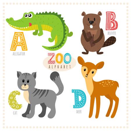 cat alphabet: Cute cartoon animals. Zoo alphabet with funny animals. A, b, c, d letters. Alligator, beaver, cat, deer. Vector illustration
