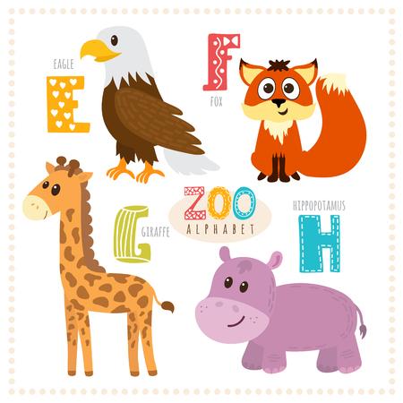 g giraffe: Cute cartoon animals. Zoo alphabet with funny animals. E, f, g, h letters. Eagle, fox, giraffe, hippopotamus. Vector illustration Illustration