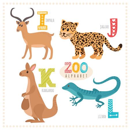 Cute cartoon animals. Zoo alphabet with funny animals. I, j, k, l letters. Impala, jaguar, kangaroo, lizard. Vector illustration Illustration