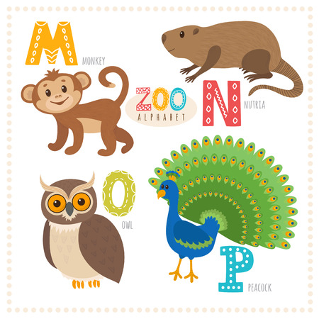 nutria: Cute cartoon animals. Zoo alphabet with funny animals. M, n, o, p letters. Monkey, nutria, owl, peacock. Vector illustration Illustration