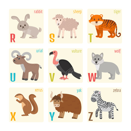 vulture: Cute zoo alphabet with animals in cartoon style. Rabbit, sheep, tiger, urial, vulture, wolf, xerus, yak, zebra. Vector illustration