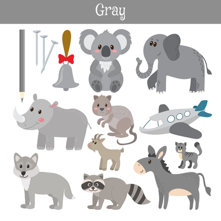 practice primary: Gray. Learn the color. Education set. Illustration of primary colors. Vector illustration