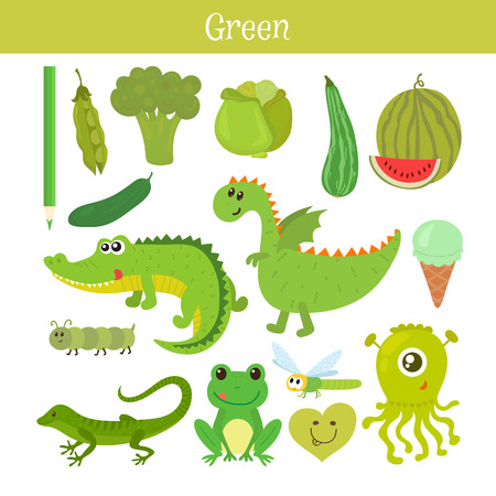 primary colors: Green. Learn the color. Education set. Illustration of primary colors. Vector illustration