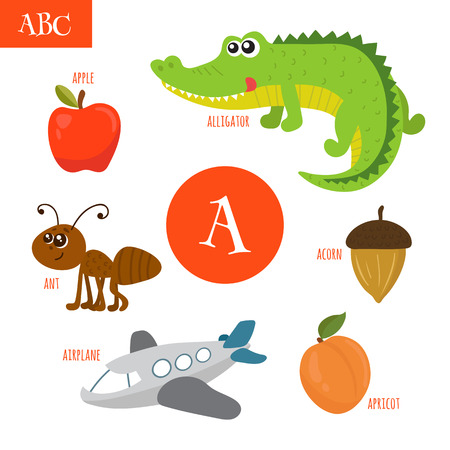 Letter A. Cartoon alphabet for children. Alligator, ant, apple, acorn, airplane, apricot. Vector illustration
