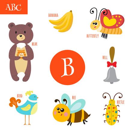 Lettre B. Cartoon alphabet pour les enfants. Ours, abeille, cloche, oiseau, bogue, papillon, banane. Vector illustration