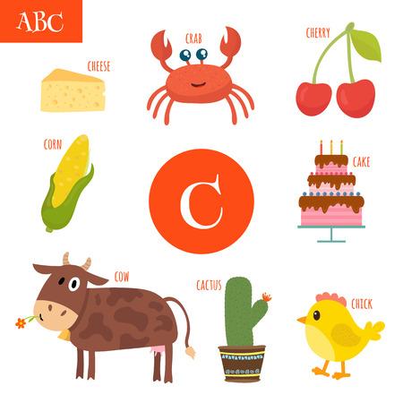 children crab: Letter C. Cartoon alphabet for children. Cake, cow, cherry, cactus, cheese, crab, corn, chick. Vector illustration