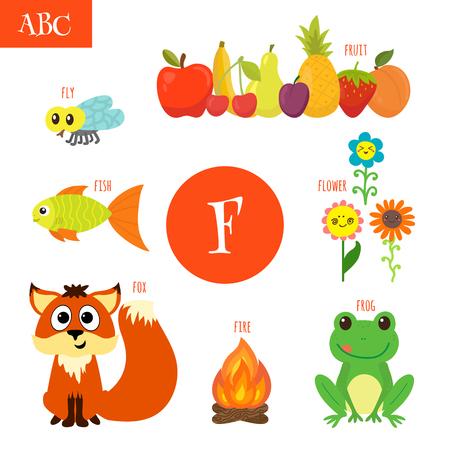 Letter F. Cartoon alphabet for children. Flower, fox, fire, frog, fish, fruit, fly. Vector illustration