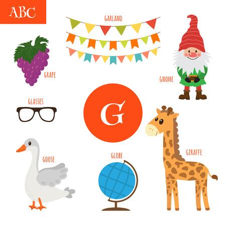 g giraffe: Letter G. Cartoon alphabet for children. Giraffe, gnome, grape, goose, globe, glasses, garland. Vector illustration