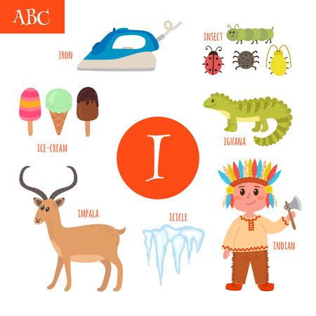icicle: Letter I. Cartoon alphabet for children. Iguana, ice-cream, iron, indian, insect, icicle, impala. Vector illustration