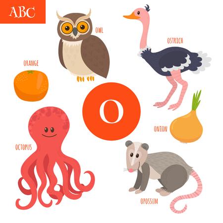 opossum: Letter O. Cartoon alphabet for children. Owl, opossum, ostrich, orange, octopus, onion. Vector illustration