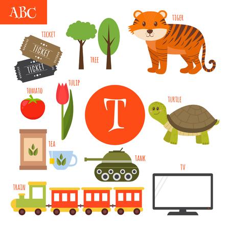 Letter T. Cartoon alphabet for children. Tiger, turtle, tv, tea, tomato, tree, train, tulip, ticket, tank. Vector illustration