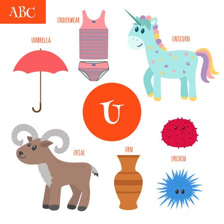 Letter U. Cartoon alphabet for children. Unicorn, umbrella, urn, underwear, urchin, urial. Vector illustration