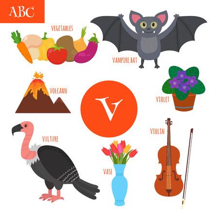 vampire bat: Letter V. Cartoon alphabet for children. Violin, vulture, vegetables, violet, vase, volcano, vampire bat. Vector illustration